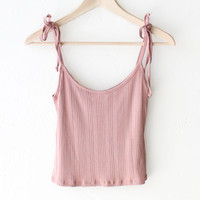 Tie-Shoulder Crop Top