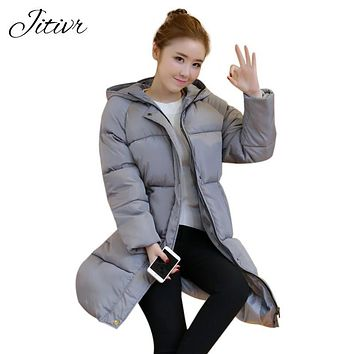 2017 Jitivr Hot Sale Women's Newest Thick Waterproof Coat In Winter Female Fashion Clothing With CottonWarm Hooded Slim Jacket