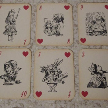 Alice in Wonderland Playing Cards - ephemera, vintage style, shabby chic style, red queen, heart, white rabbit, mad hatter, cheshire cat
