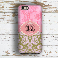 Monogram Iphone 5 case, Pretty Iphone 6 case, Damask Iphone 5c case, Floral iphone 6s case, Women's Fall accessory, Pink green damask (9834)