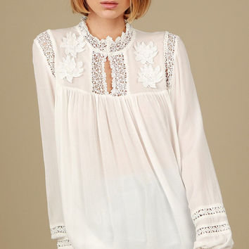 Floral Embroidered Victorian Neck Top