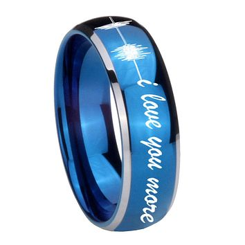 8MM Glossy Blue Dome Sound Wave i love you more more Tungsten Carbide 2 Tone Laser Engraved Ring