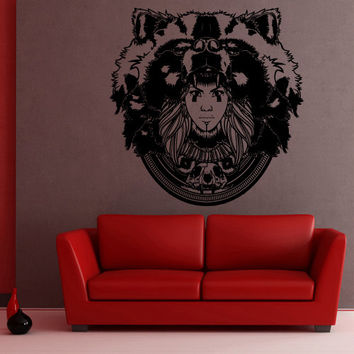 Wall Decor Vinyl Sticker Room Decal Girl Animal Bear Forest Indian Skull Magic Enchantment Injun (s50)