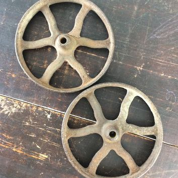 Cast iron cart wheels, set of 2, rusty toy wagon or buggy rims, industrial steampunk craft supply, rustic farmhouse decor, restoration