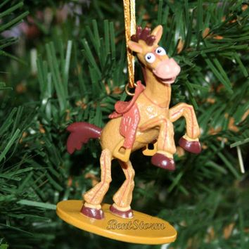 Licensed cool NEW Disney TOY STORY BULLSEYE HORSE SADDLE WOODY FRIEND Christmas Ornament PVC