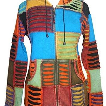 RJ 310/307 Agan Traders Hand Crafted Patch Rib Bohemian Hoodie Jacket