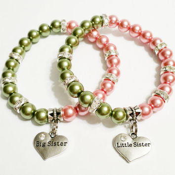 Pink and Green Big Sister Little Sister Bracelet Set - Best Friends Bracelet Set - Sister Jewelry - Twin Sisters Jewelry Set - Chistmas Gift