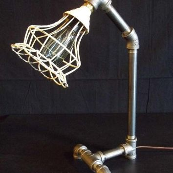 Steam Punk Style Lamp with Black Iron Pipe and Shabby Chic Style Metal Wire Shade