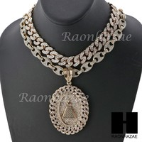 """Iced Out Pyramid Oval Pendant 16"""" Iced Out Choker 18"""" Puffed Gucci Chain Set G36"""