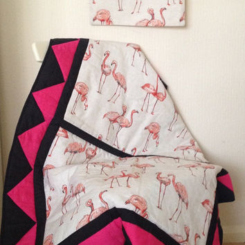 modern baby bedding~ crib bedding~ baby blanket~ vintage style~ flamingo bedding~ boho baby~ hot pink~ victorian~ goth baby~ punk rock baby