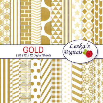 Gold digital paper pack - GOLD scrapbook paper - Commercial use backgrounds: chevron, polkadots, stripes, gingham, triangle, circles