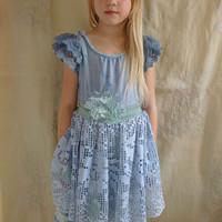 Cloudy Little Girl Dress... Size 8... whimsical flower girl tea party boho fairy blue lace alternative woodland