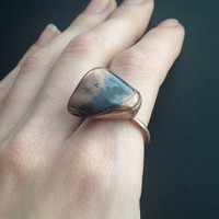 Hematite Ring - Statement Ring - Unique Ring - Raw Stone Ring - Copper Covered Ring - Semiprecious Stone Ring - SIZE 9