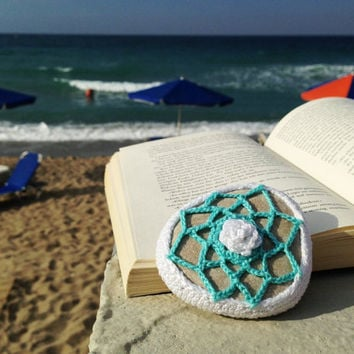 Crochet Covered Stone, Lace Stone, Paperweight, Home decor, Beach wedding, Triangular element, Fiber art object, White and Blue
