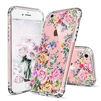 DCCKV2S iPhone 6 Case, iPhone 6s Case for Girls, MOSNOVO Roses Garden Floral Printed Flower Pattern Clear Design Plastic Back Hard Case with TPU Bumper Protective Case Cover for Apple iPhone 6 6s (4.7 Inch)