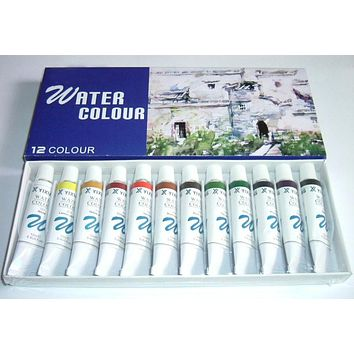 12 Color 12ML Professional Water color Paint kit
