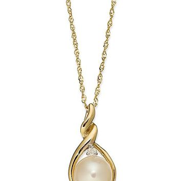 Macy's 14k Gold Necklace, Cultured Freshwater Pearl and Diamond Accent Twist Pendant Jewelry & Watches - Necklaces - Macy's