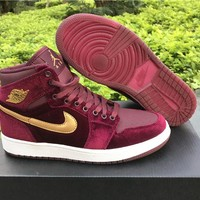 Nike Air Jordan 1 RETRO GS Wine red Basketball Shoes 36-43