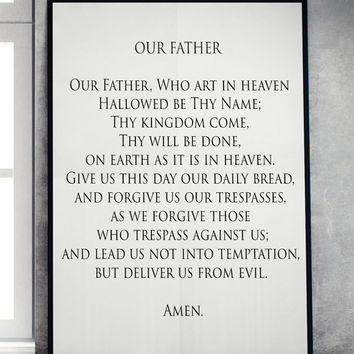 Our Father Printable Wall Art home God decor christian religious poster print INSTANT DOWNLOAD