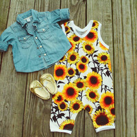 Sunflower baby girl romper, sunflower jumpsuit, black white yellow romper, baby girl romper, baby girl jumpsuit, flower romper, sun romper