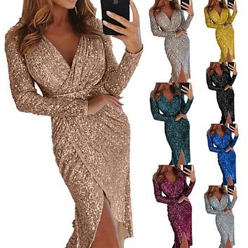 BKLD 8 Colors Sexy V neck High Slit Party Dress Women Glitter Sequined Asymmetrical Bodycon Dress Long Sleeve Plus Size Vestidos
