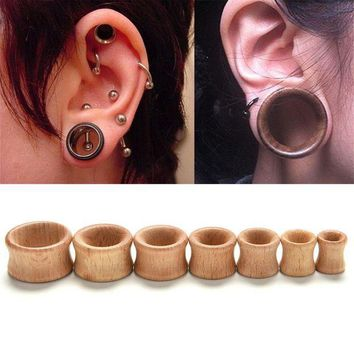ac DCCKO2Q Hollow Plug Piercing Ear Expander 1 Pc Body Jewelry Natural Wooden Plugs Gauges Flesh Ear Tunnels