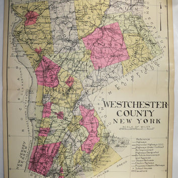 Westchester County NY Map 1912 Large Map, New York County Map, Vintage Art Map, Mamaroneck White Plains Mount Vernon, Genealogy History Map