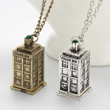 Vintage Jewelry Doctor Who 3D Antique Silver Bronze Tardis Police Box Pewter Tall Long Chain Pendant Necklace For Men And Women