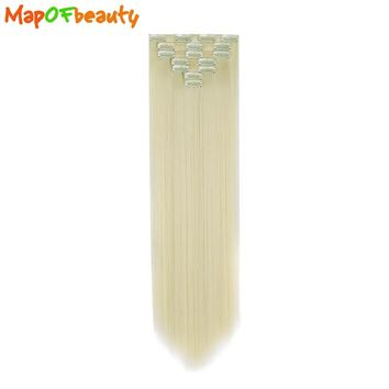 MapofBeauty 7 piece 50cm 20inch Long Straight Blonde Synthetic hair extension Clips women cosplay hairpiece clip in 14 Colors