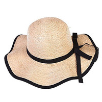 Generic Women Wave Straw Ribbon Bowknot Wide Brimmed Girls Summer Sun Hats