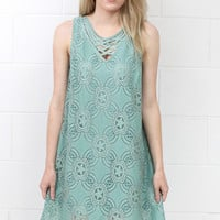 Sweet on You Crochet Lace Strappy Neckline Dress {Sage}