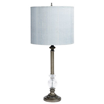 Pewter Large Glass Ball Lamp with Blue Drum Shade