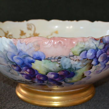 Limoges Punch Bowl, T&V Limoges France Bowl, Limoges Porcelain, Grapes Pattern Limoges Punch Bowl, Antique Limoges Artist Signed