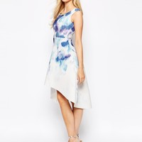 True Violet Printed Off Shoulder Prom Dress With High Low Hem at asos.com