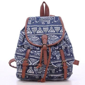ONETOW Day-First? Blue Elephant Travel Bag Canvas Lightweight College Backpack
