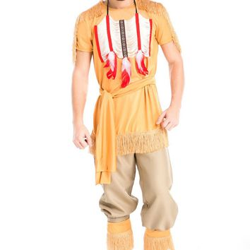Halloween Party Cosplay Adult Native Red Indian Man Brave Warrior Chief Up Cowboy Costume Primitive Savage Men Chiefs Clothing