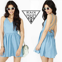 Denim backless dress from Blacksheeps!