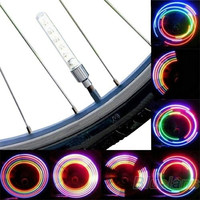 2pcs  Bike Bicycle Wheel Tire Valve Cap Spoke Neon 5 LED Lights Lamp (¨no battery ) = 1651618948