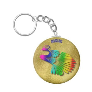 Rainbow Sparkling Peacock With Shadows Keychain