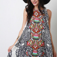 Women's Bohemian Filigree Trapeze Dress - Size L