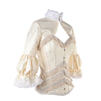 Cream Victorian Steel Boned Corset with Long Sleeve Jacket