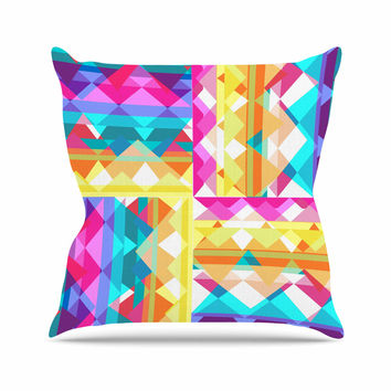 "Miranda Mol ""Triangle Checker"" Pastel Rainbow Outdoor Throw Pillow"