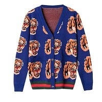 GUCCI Trending Women Men Stylish Long Sleeve V Collar Tiger Head Jacquard Knit Cardigan Sweatshirt Jacket Coat Sapphire Blue