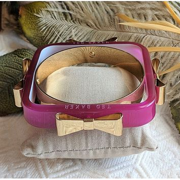 Ted Baker of London Charry Raspberry Gold Bow Square Bangle Bracelet