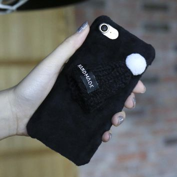 Black Knitted Hat Fuzzy Phone Case