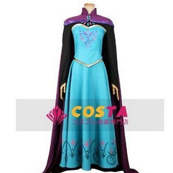 Women Elsa Princess Cosplay Dress Adult Halloween And Party Dress fantasia New Elsa Queen Costumes with free crown