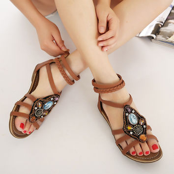 Design Wedge Bohemia Summer Rhinestone Sandals = 4804961412