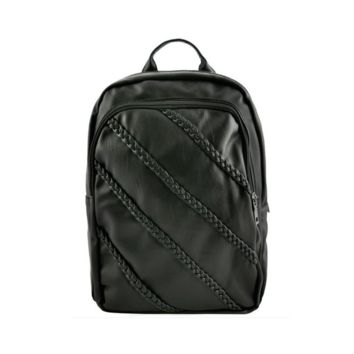 Black Braided Faux Leather Backpack