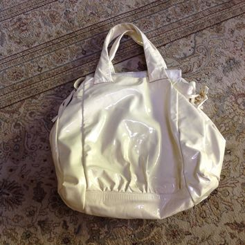"""Gucci Hysteria Ivory Patent Leather Large Authentic Satchel Handbag"""