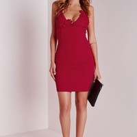 CREPE APPLIQUE FLOWER BUST BODYCON DRESS RED